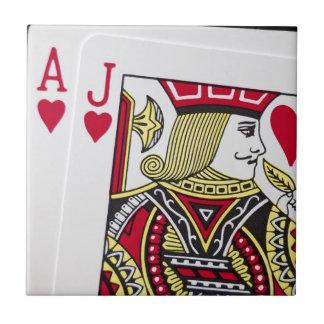 Blackjack Hand - Ace and Jack (5) Ceramic Tile