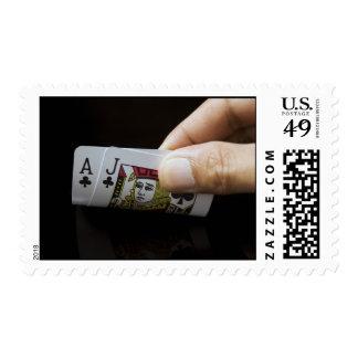 Blackjack Hand - Ace and Jack (6) Stamp