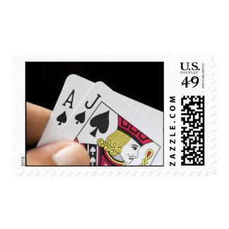Blackjack Hand - Ace and Jack Stamps