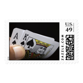 Blackjack Hand - Ace and King Postage Stamps