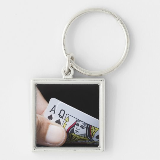 Blackjack Hand - Ace and Queen (2) Keychain