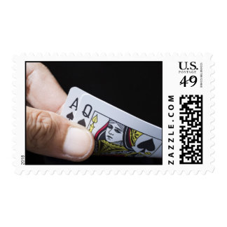 Blackjack Hand - Ace and Queen (2) Postage Stamps
