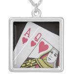 Blackjack Hand - Ace and Queen (3) Personalized Necklace