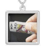 Blackjack Hand - Ace and Queen (4) Personalized Necklace