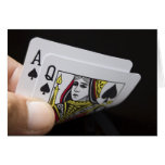 Blackjack Hand - Ace and Queen Greeting Cards
