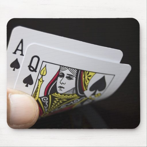 Blackjack Hand - Ace and Queen Mousepad