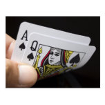 Blackjack Hand - Ace and Queen Post Card
