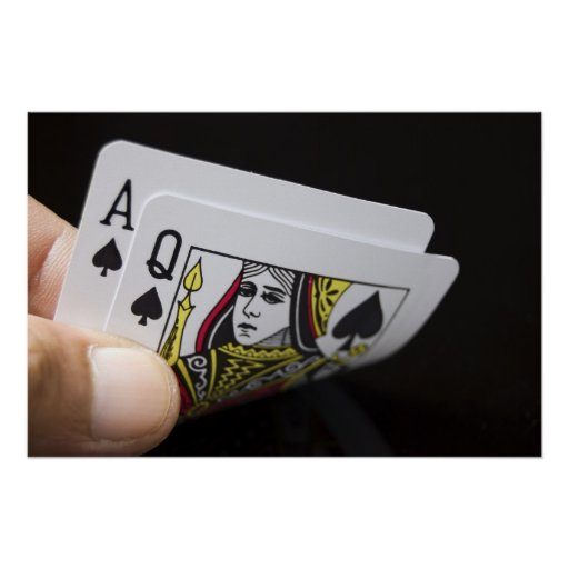 Blackjack Hand - Ace and Queen Poster
