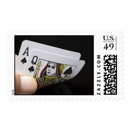 Blackjack Hand - Ace and Queen Stamp