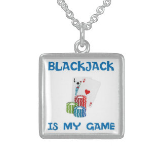 BLACKJACK IS MY GAME STERLING SILVER NECKLACE