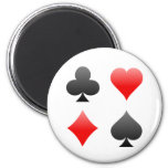 Blackjack / Poker Card Suits: Vector Art: 2 Inch Round Magnet