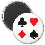 Blackjack / Poker Card Suits: Vector Art: 2 Inch Round Magnet