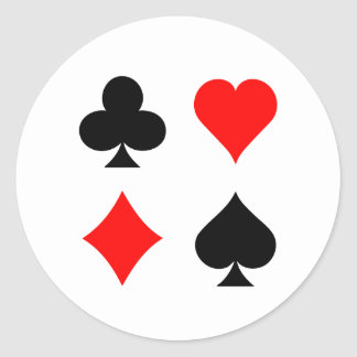 Blackjack / Poker Card Suits: Vector Art: Classic Round Sticker
