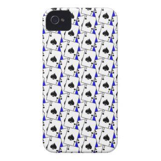 Blackjack Spades Blue Large iPhone 4 Case-Mate Cases