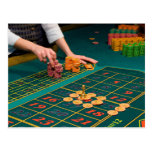 Blackjack Table with Chips Postcard