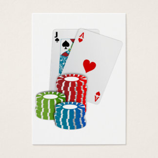 Blackjack with Poker Chips Business Card