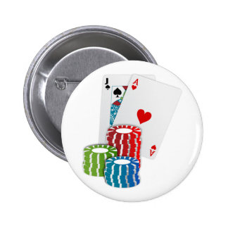 Blackjack with Poker Chips 2 Inch Round Button