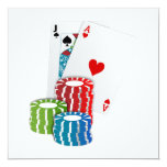 Blackjack with Poker Chips 5.25x5.25 Square Paper Invitation Card