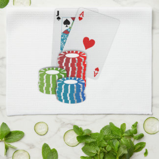 Blackjack with Poker Chips Kitchen Towel