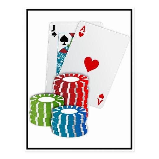 Blackjack with Poker Chips Postcard