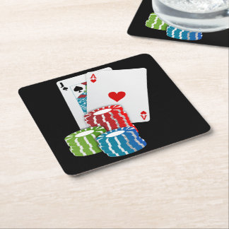 Blackjack with Poker Chips Square Paper Coaster