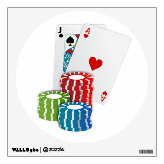 Blackjack with Poker Chips Wall Sticker
