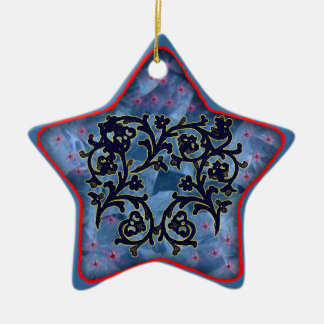blacklace floral Double-Sided star ceramic christmas ornament