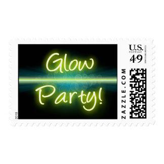Blacklight amarillo/verde del fiesta del timbre postal