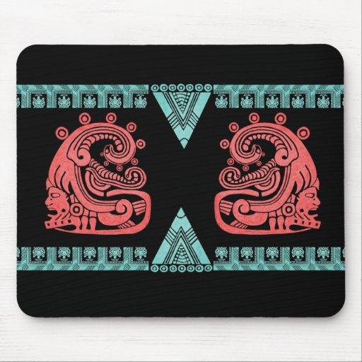 Blacklight Aztec Warrior Hieroglyph Mouse Pad