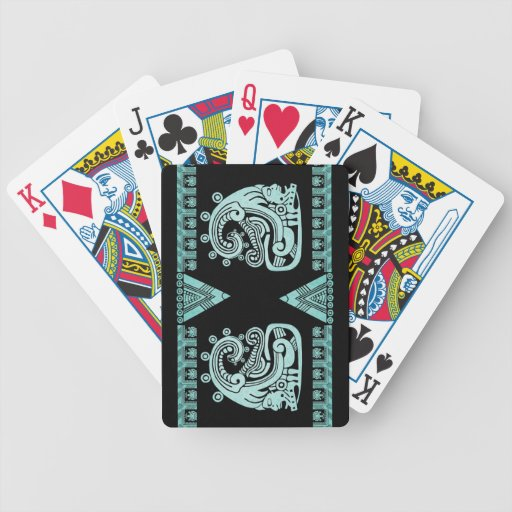 Blacklight Aztec Warrior Hieroglyph Turquoise Bicycle Playing Cards