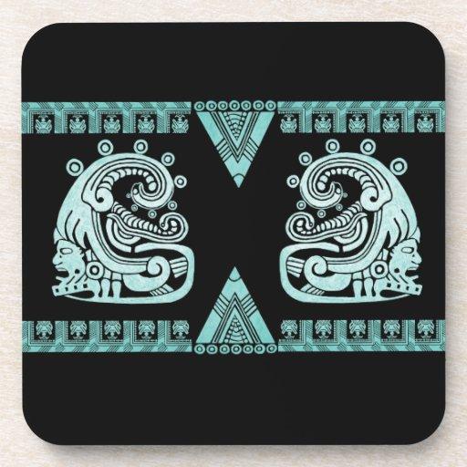 Blacklight Aztec Warrior Hieroglyph Turquoise Coasters