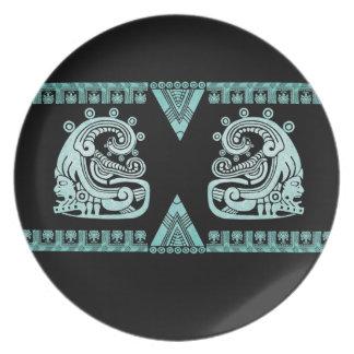Blacklight Aztec Warrior Hieroglyph Turquoise Melamine Plate