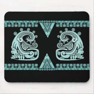 Blacklight Aztec Warrior Hieroglyph Turquoise Mouse Pad