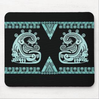 Blacklight Aztec Warrior Hieroglyph Turquoise Mouse Pad