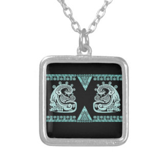 Blacklight Aztec Warrior Hieroglyph Turquoise Silver Plated Necklace