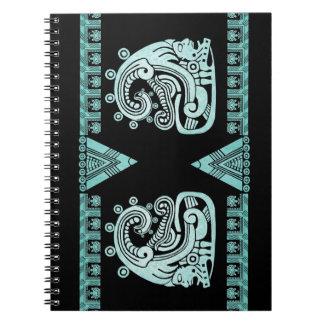 Blacklight Aztec Warrior Hieroglyph Turquoise Spiral Notebook
