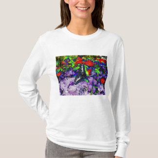 Blacklight Butterfly& Fire Engine Red Flowers T-Shirt