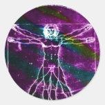 Blacklight colorized hombre de la proporción de da pegatinas redondas