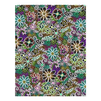 blacklight floral scrapbook paper 8.5 x 11