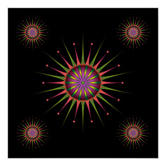 Blacklight Flower Poster