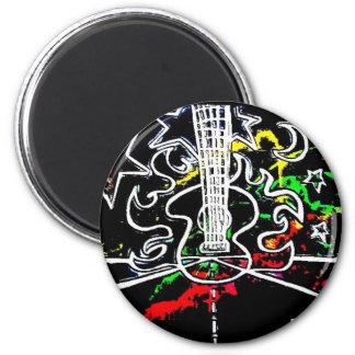 Blacklight/guitarra llameante del chapoteo de neón imán redondo 5 cm