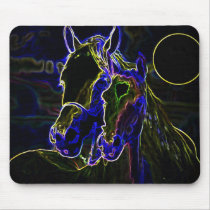 Blacklight Horses Mouse Pad