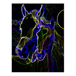 Blacklight Horses Postcard