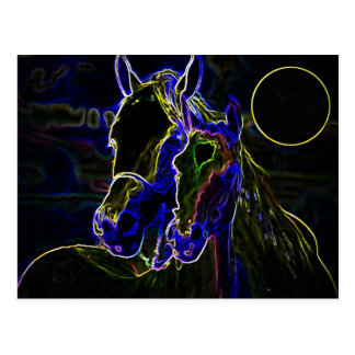 Blacklight Horses Postcard
