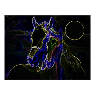 Blacklight Horses Poster Print - Horse Posters