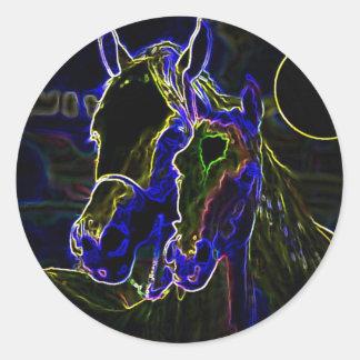Blacklight Horses Round Sticker