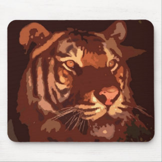 Blacklight Tiger Face Mouse Pad
