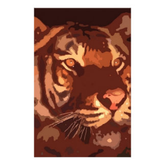 Blacklight Tiger Face Stationery Design