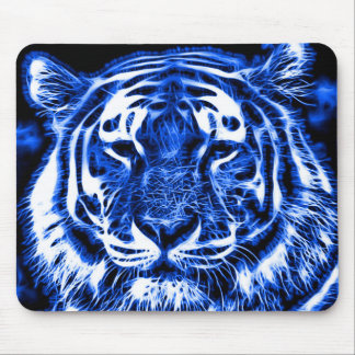 Blacklight Tiger Spirit Fractal Animal Print Mouse Pad