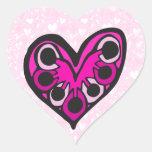blacklineflower2 pegatina en forma de corazón
